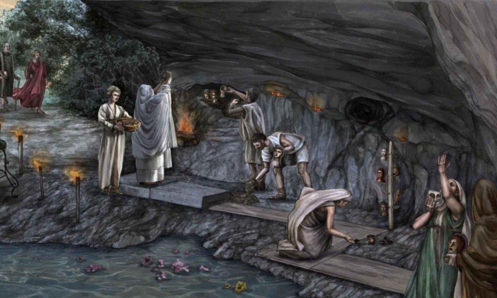 Disegno del rito nell'antro della dea Giunone Sospita