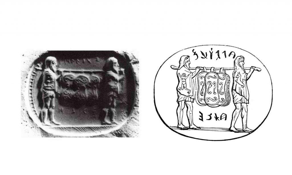 Gemma arcaica che rappresenta il trasporto degli scudi ancilia da parte di ministri del collegio dei Salii