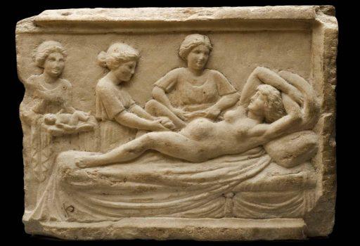Rilievo in marmo Romano con scena di parto