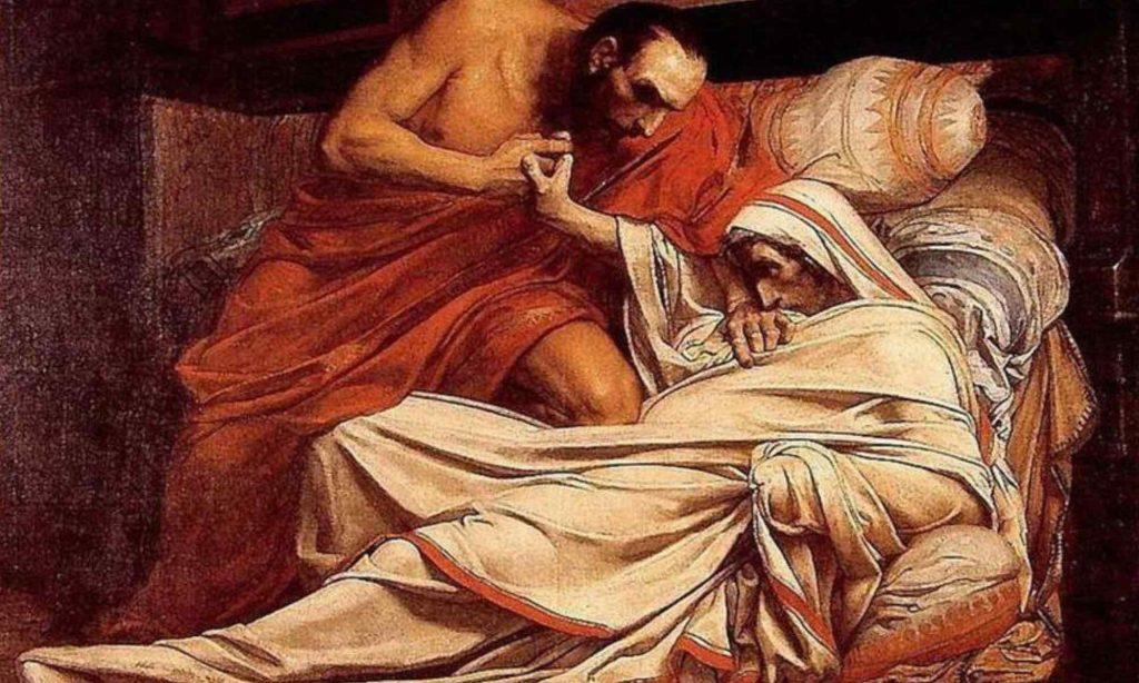 Dipinto a olio che rappresenta la morte dell'imperatore Tiberio dell'artista Jean Paul Laurens