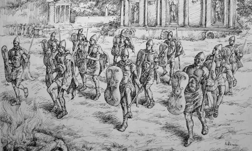 Raffigurazione della danza della confraternita sacerdotale dei Salii
