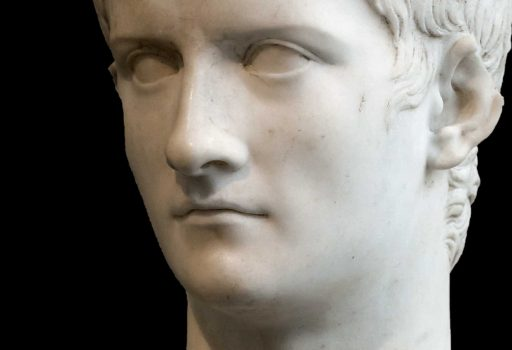 Particolare del busto in marmo dell'imperatore Caligola oggi al Metropolitan Museum of Art di New York