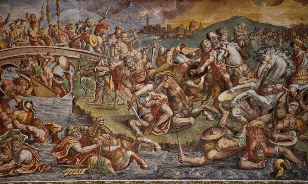 Affresco della battaglia di Ponte Milvio all'interno di Palazzo Petrignani di Amelia