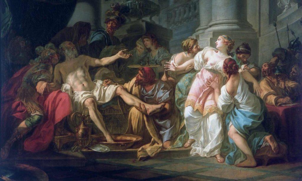 Dipinto a olio della morte di Seneca di Jean Luiz David con al centro il filosofo morente mentre si dissangua, e intorno la sua corte con la moglie Paolina