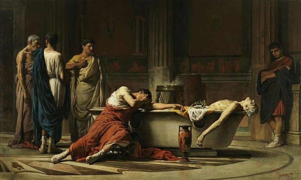 Dipinto a Olio di Manuel Dominguez Sanchez che rappresenta la morte e il suicidio di Seneca