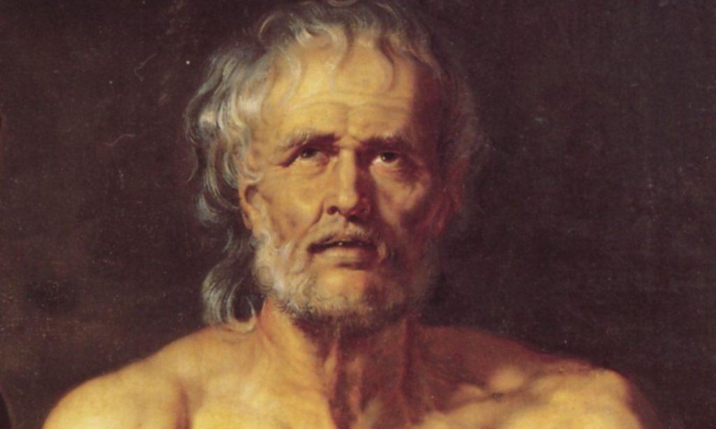"""Particolare del dipinto a olio """"Morte di Seneca"""" con il ritratto di Seneca di Rubens"""