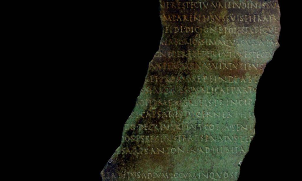 Lastra in bronzo chiamata Tabula Tifernas Tiberina