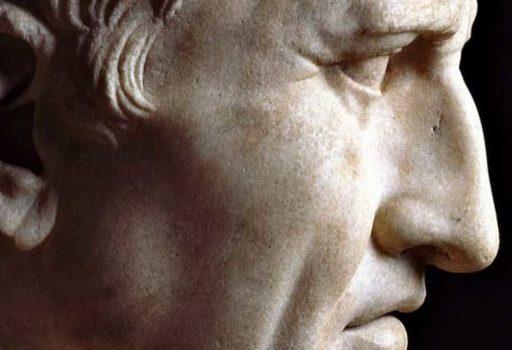 Particolare del busto in marmo di Cicerone