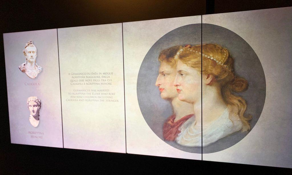 Mostra Installazione Germanico Cesare a un passo dall'Impero - schermo con Germanico e Agrippina