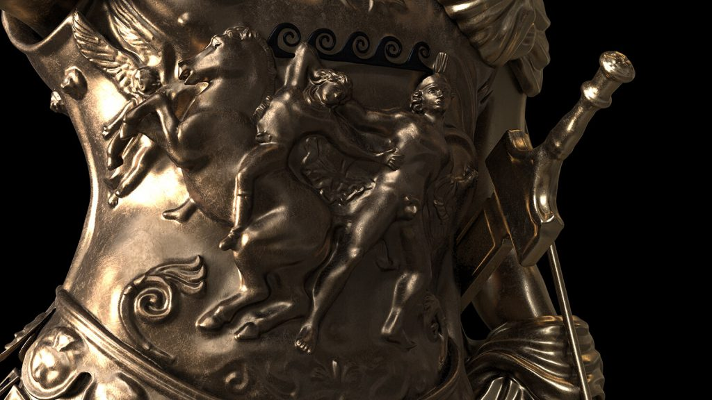 Particolare dalla statua bronza del Germanico di Amelia con l'agguato di Achille a Troil