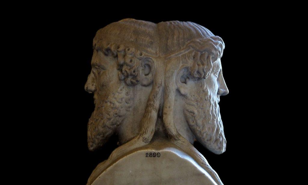 Marmo che rappresenta Giano Bifronte ai Musei Vaticani a Roma