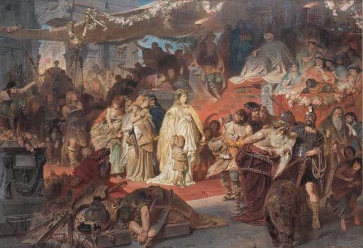 Dipinto di Theodor Von Piloty che rappresenta il trionfo di Germanico, in primo piano Thusnelda e suo figlio Tumelico